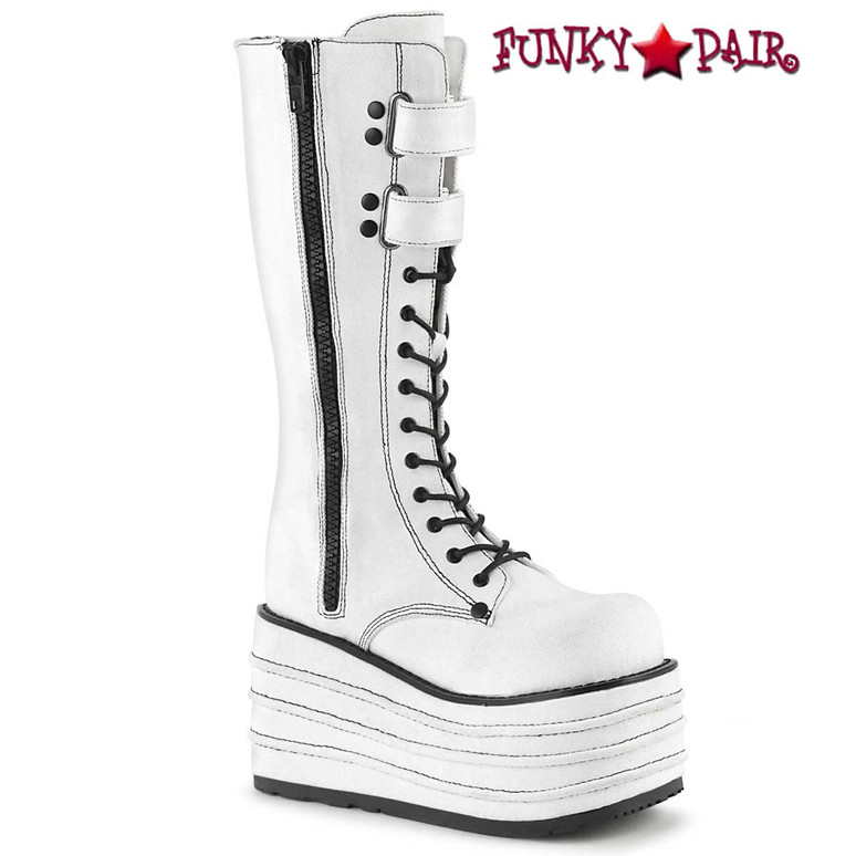 Women's Demonia Boots   MORI-310, Wedge Canvas Knee High Boots color white canvas