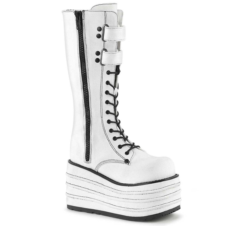 MORI-310, Wedge White Canvas Knee High Boots by Demonia