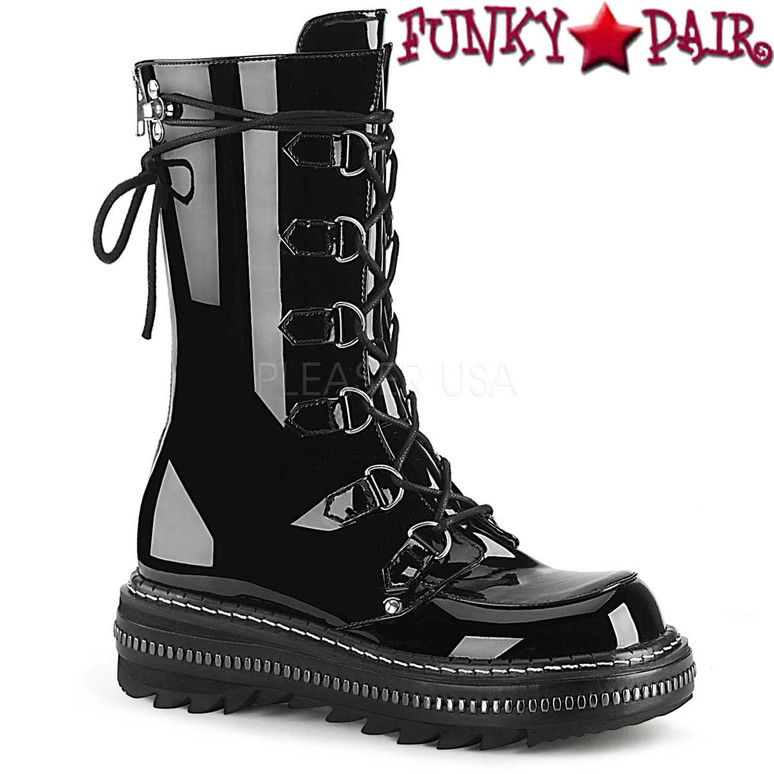 Women's Demonia Boots | LILITH-270, D-Ring Lace-up Mid-Calf Boots color black patent
