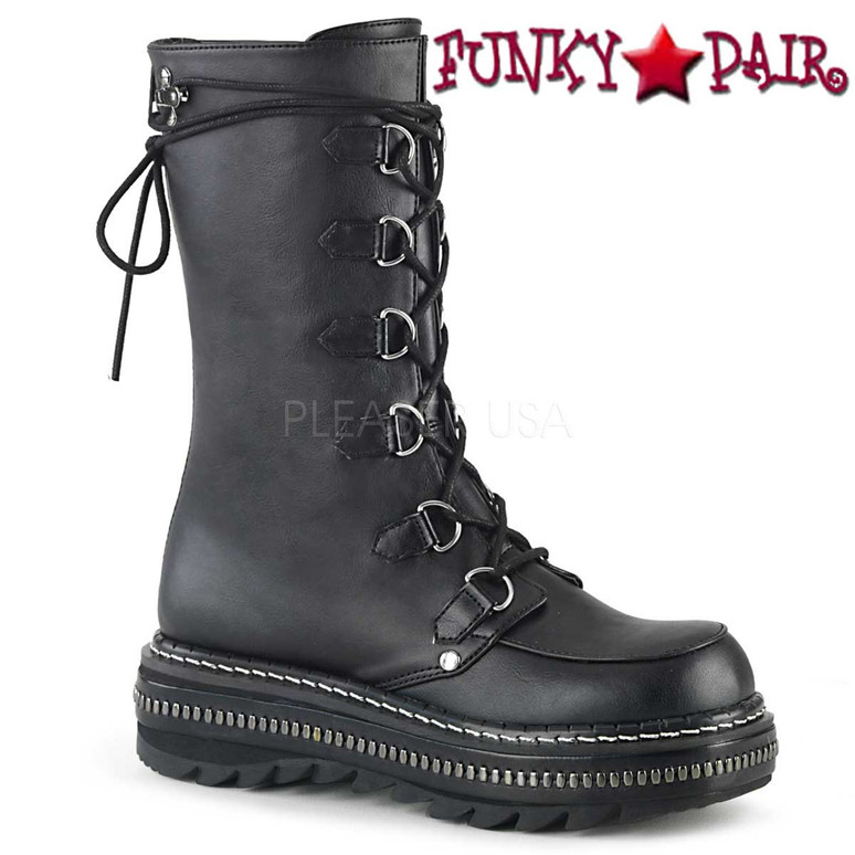 Women's Demonia Boots | LILITH-270, D-Ring Lace-up Mid-Calf Boots color black vegan leather