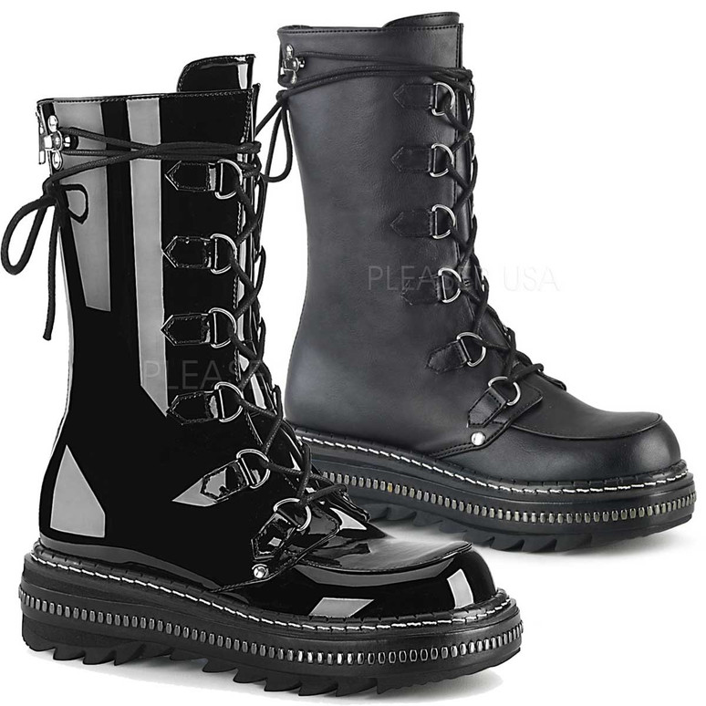 Demonia Boots | LILITH-270, D-Ring Lace-up Mid-Calf Boots