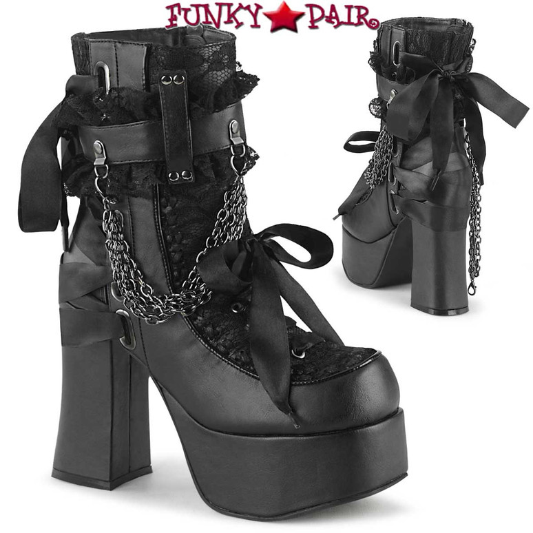 Demonia | CHARADE-110, Chunky Heel Ankle Boots with Chains color black