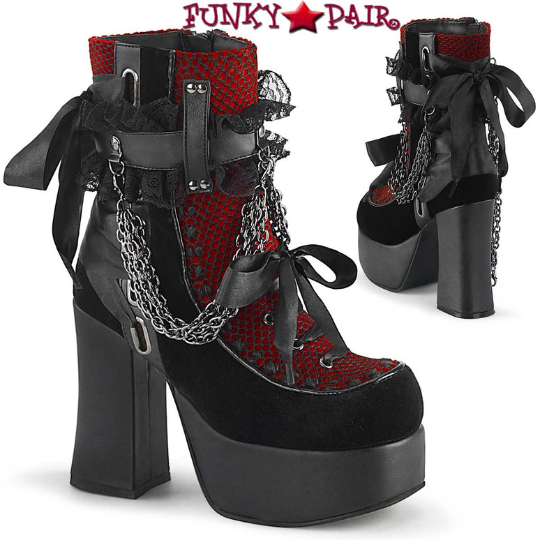 Demonia | CHARADE-110, Chunky Heel Ankle Boots with Chains color black/red