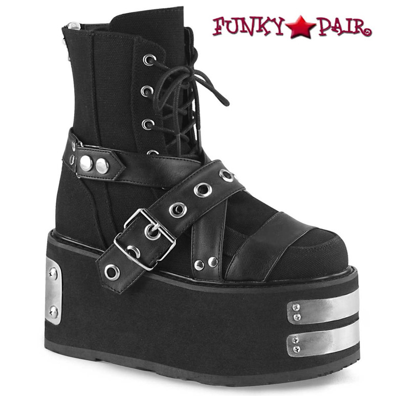 Demonia | DAMNED-116, Lace-up Ankle Boots with Buckle Strap color black Canvas-Vegan Leather