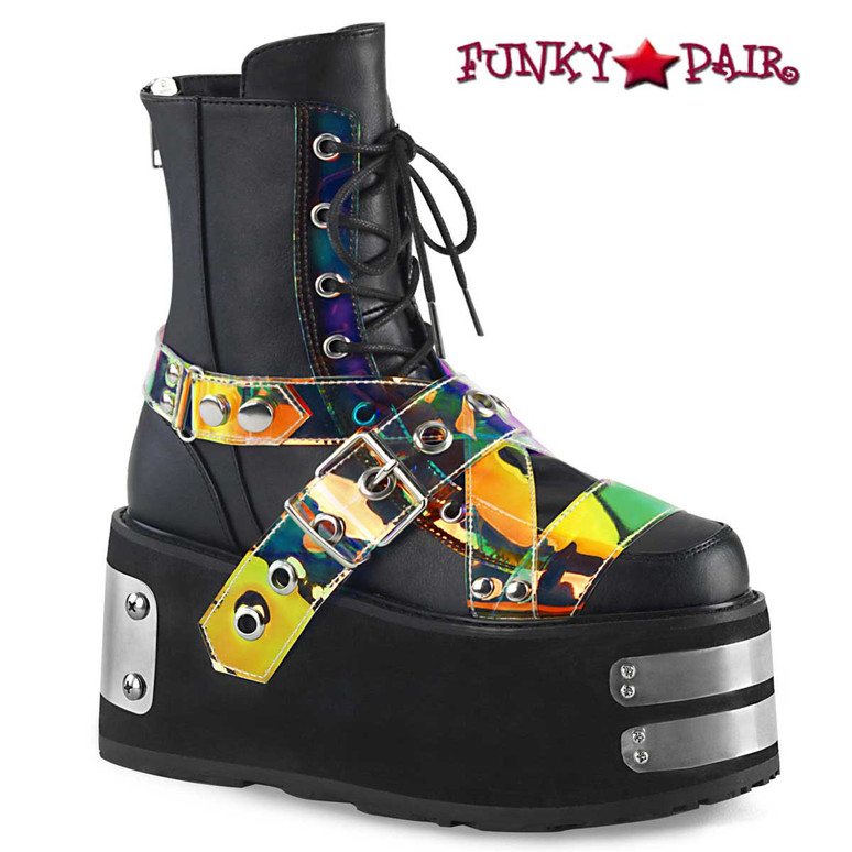 Demonia Raver Boots | DAMNED-116, Lace-up Ankle Boots with Buckle Strap color black  Vegan Leather-Magic Mirror TPU