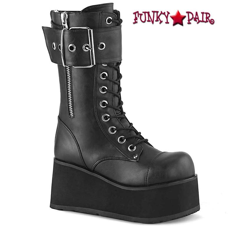 Demonia PETROL-150 Black Faux Leather