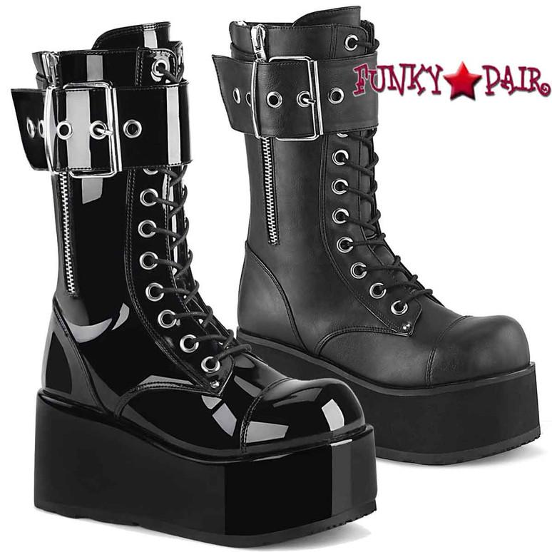 Demonia PETROL-150, Men's Punk Oversized Buckles Mid-Calf Boots