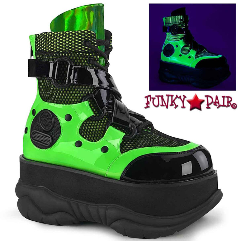 NEPTUNE-126 Green Burning Man Strap Ankle Boots by Demonia