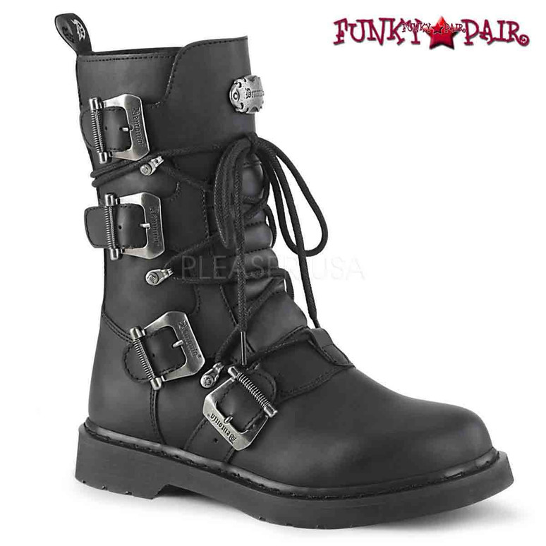 Demonia | BOLT-265, Mid-Calf Multi Buckles Combat Boots