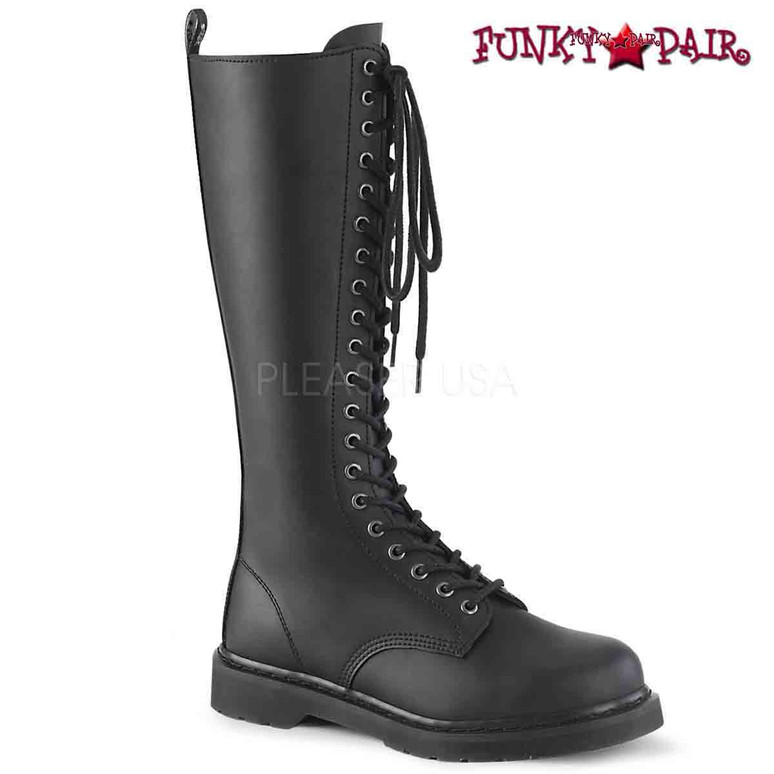 Demonia   BOLT-400, Knee High Lace up Combat Boots
