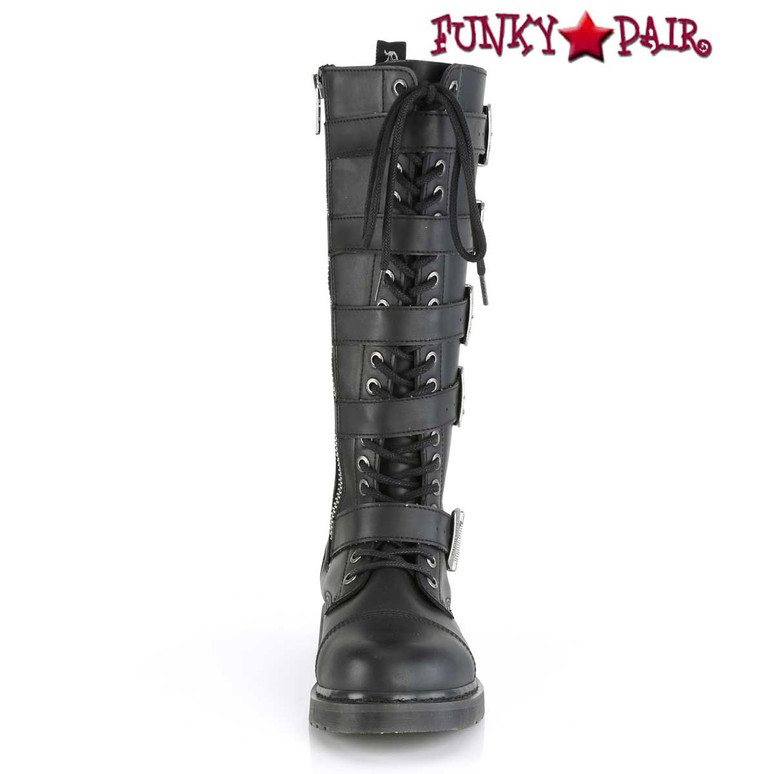 Demonia | BOLT-425 Men's Knee High Combat Boots with 5 Buckle Straps Front View