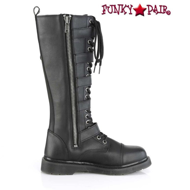 Men's Knee High Combat Boots with 5 Buckle Straps by Demonia BOLT-425 Zipper side View