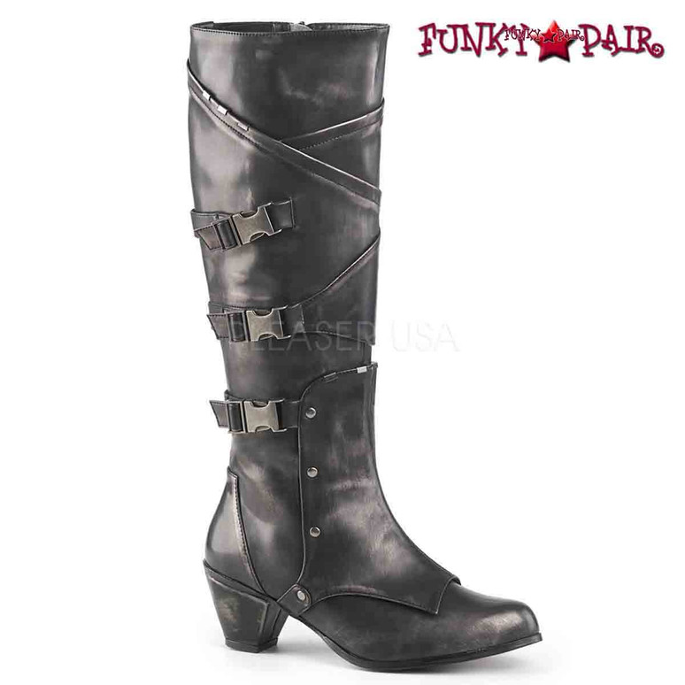 Funtasma | MAIDEN-8820, Knee High Boots with Metal Buckles