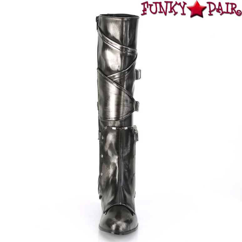 Funtasma | MAIDEN-8820, Cosplay Knee High Boots with Metal Buckles Front View