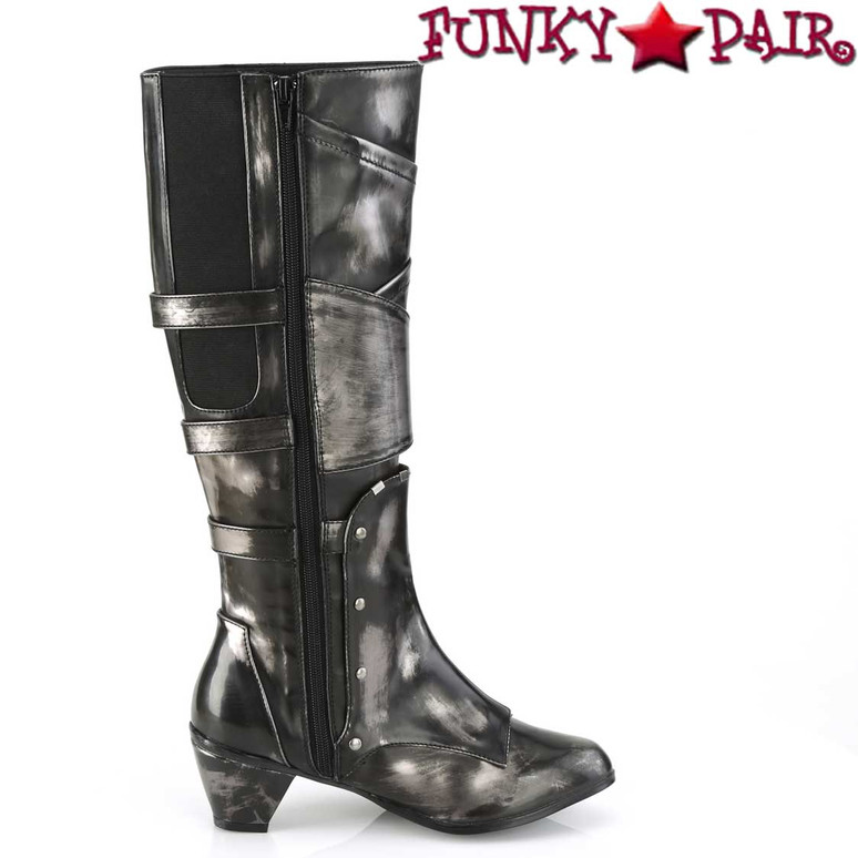 MAIDEN-8820, Cosplay Knee High Boots with Metal Buckles | Funtasma Zipper Side View