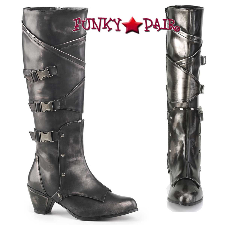 Funtasma | MAIDEN-8820, Cosplay Knee High Boots with Metal Buckles