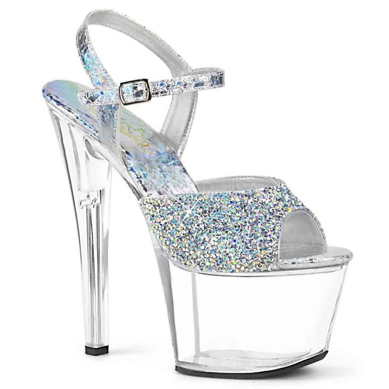 Pleaser Shoes | SKY-309RS, Platform Sandal with Rhinestones on Vamp
