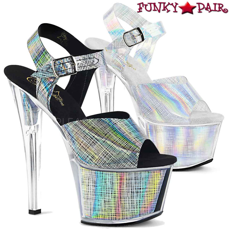 Pleaser Shoes 7 Inch | SKY-308N-CRHM, Crosshatch Platform Ankle Strap Sandal