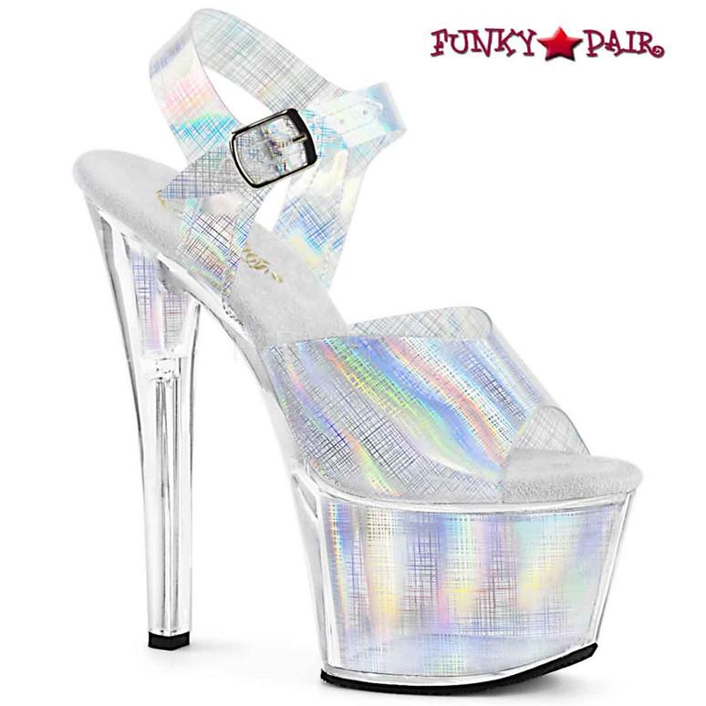 7 Inch Exotic Dancer Shoes | SKY-308N-CRHM, Crosshatch Platform Ankle Strap Sandal color silver