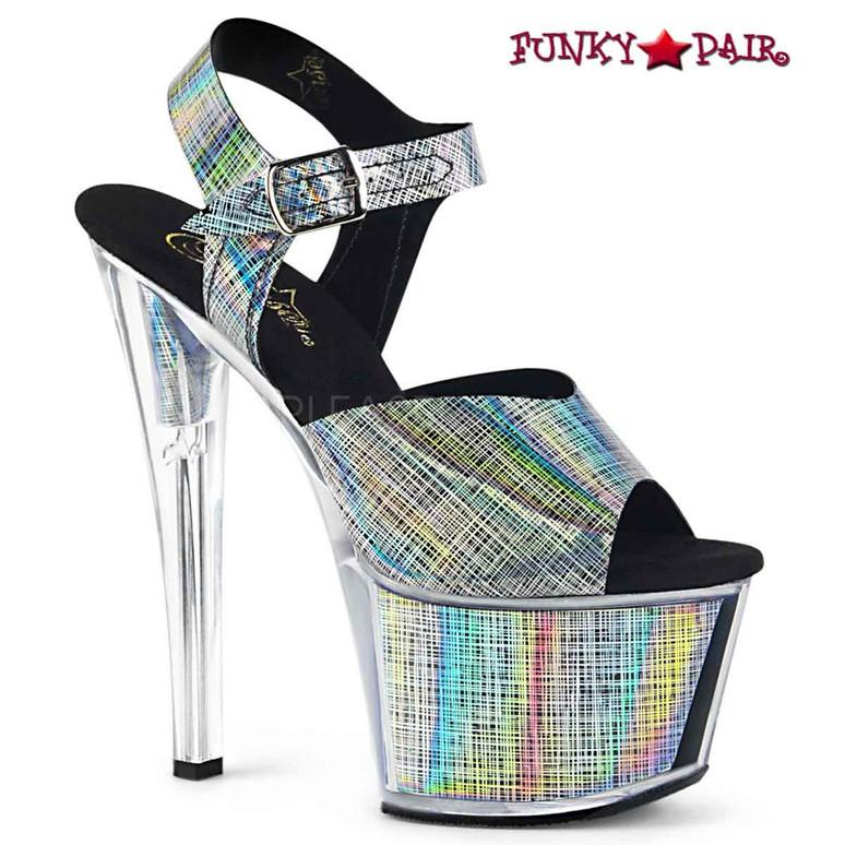 Pleaser Shoes 7 Inch | SKY-308N-CRHM, Crosshatch Platform Ankle Strap Sandal color black