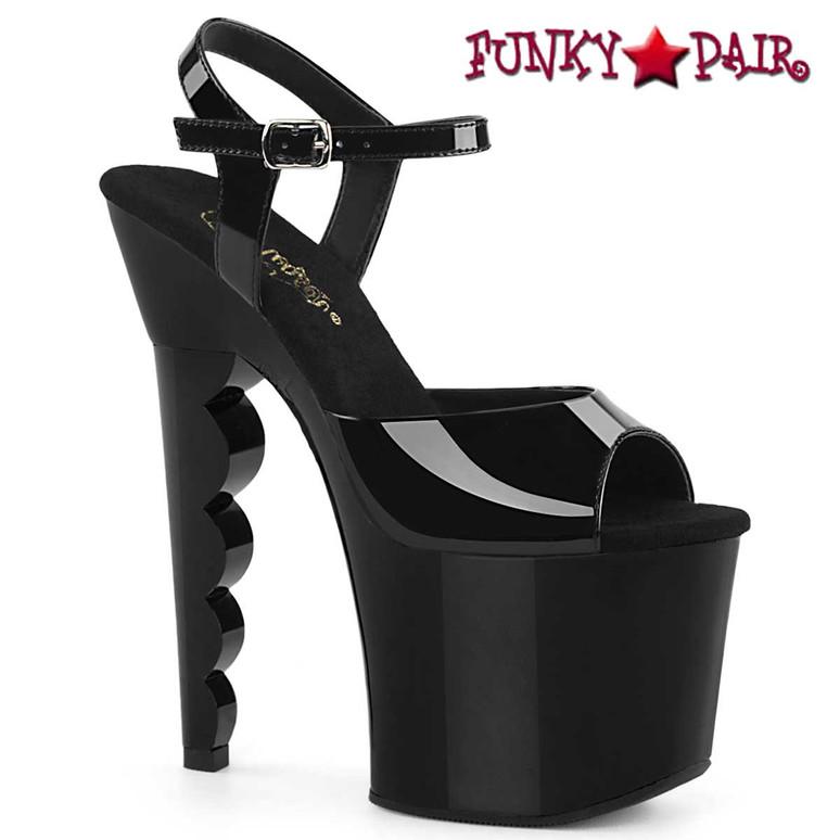 "SCALLOP-709, 7"" Scalloped Heel Platform Sandal by Pleaser"