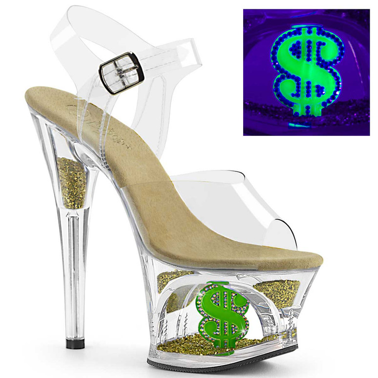 MOON-708USD, Dollar Sign Stripper Platform Shoes by Pleaser