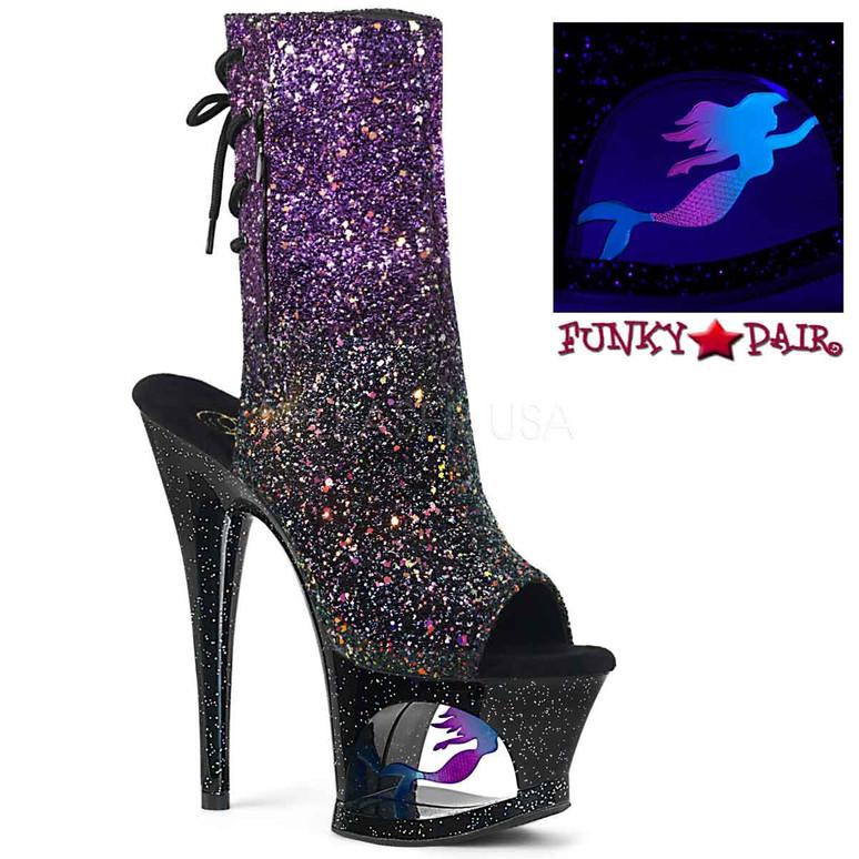 Pleaser Shoes | MOON-1018MER, Mermaid Platform Open Toe Ankle Boots | FunkyPair