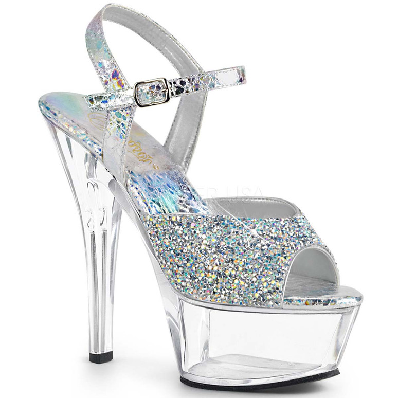 Pleaser Shoes | KISS-209RS,  Multi Rhinestones Glitter Platform Sandal