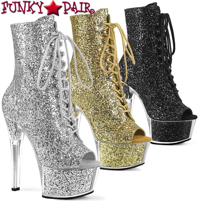 Pleaser | ASPIRE-1021G, Glitter Open Toe Ankle Boots