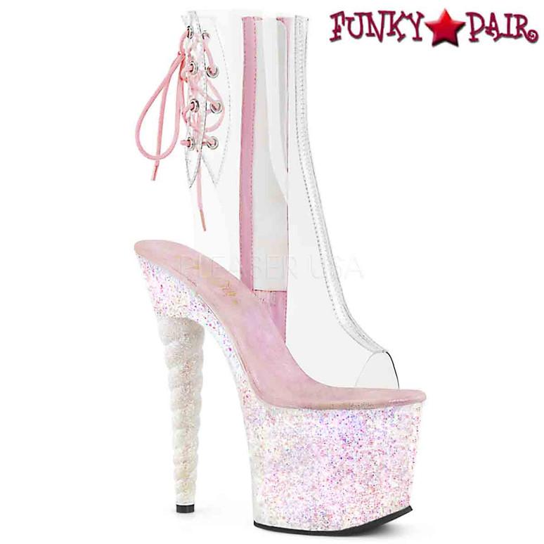 Pleaser Shoes | UNICORN-1018C, Unicorn Heel Ankle Boots  color opal