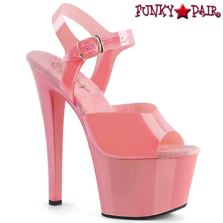 Stripper Shoes | SKY-308N, Jelly-Like Platform Ankle Strap Sandal  color baby pink