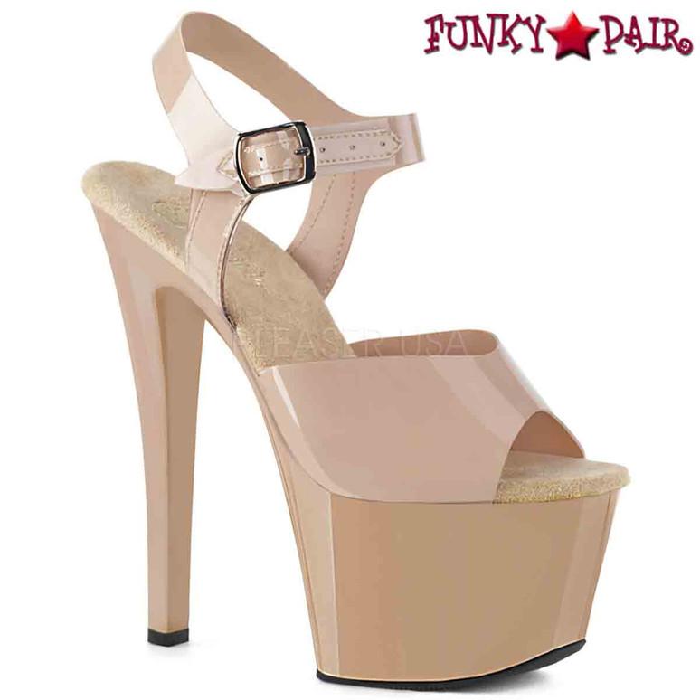 Pleaser Shoes | SKY-308N, Jelly-Like Platform Ankle Strap Sandal  color cream