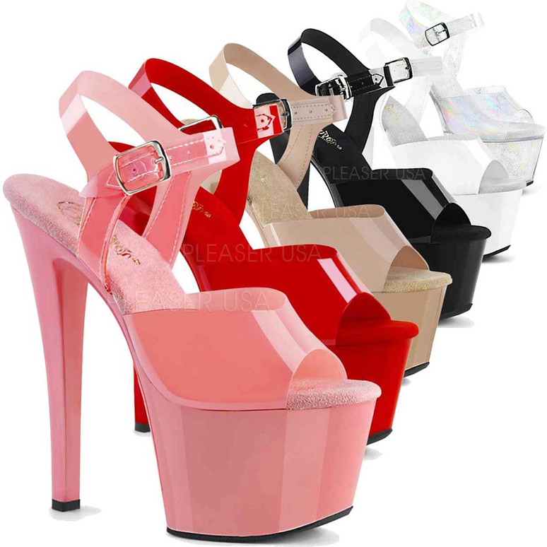 Exotic Dancer Shoes | SKY-308N, Jelly-Like Platform Ankle Strap Sandal  color available: baby pink, red, cream black, white