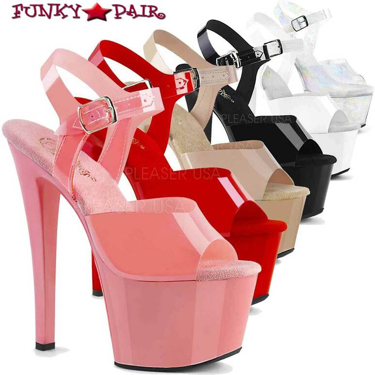 Pleaser Shoes SKY-308N, Jelly-Like Platform Ankle Strap Sandal