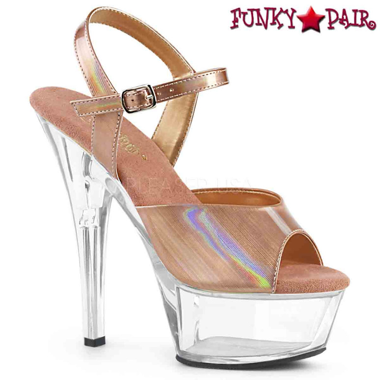 Pleaser Shoes | KISS-209BHG, Brush Holographic Ankle Strap Sandal  color  rose gold