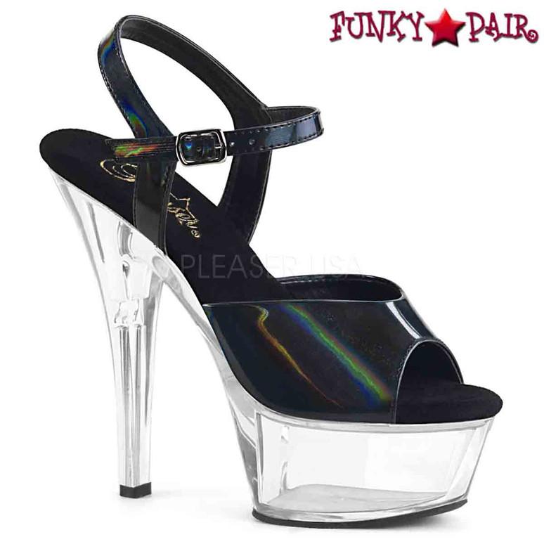 Pleaser Shoes | KISS-209BHG, Brush Holographic Ankle Strap Sandal  color  black