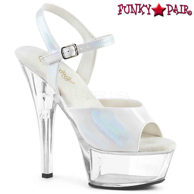 Pleaser Shoes | KISS-209BHG, Brush Holographic Ankle Strap Sandal  color  white