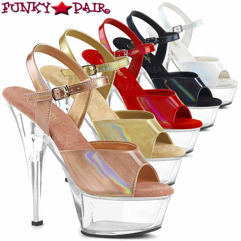 Stripper Shoes KISS-209BHG, Brush Holographic Ankle Strap Sandal  FunkyPair