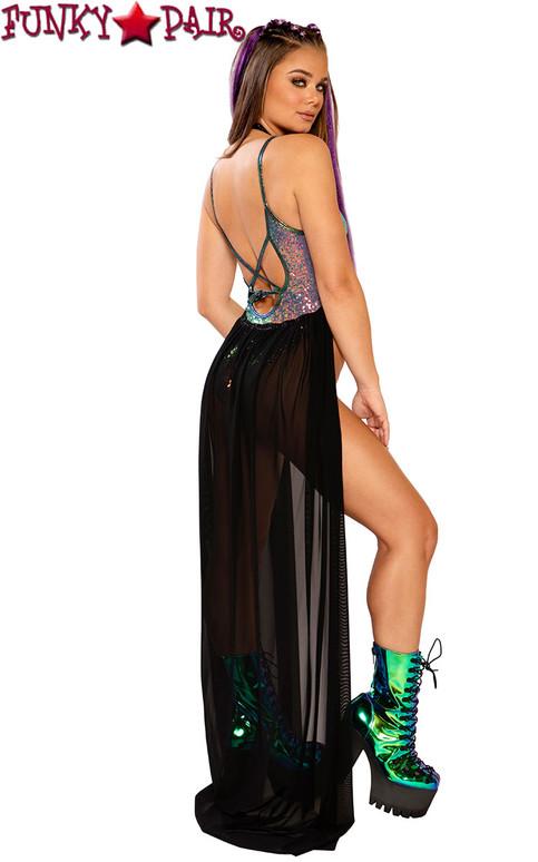 Harness Skirt by J Valentine JV-FF146 color black shimmer back view