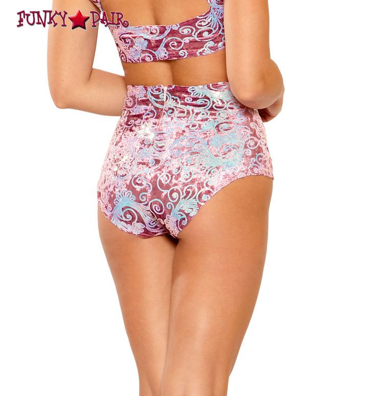 Sequin Embroidered High-Waist Short by J Valentine JV-FF150 color rose prism back view