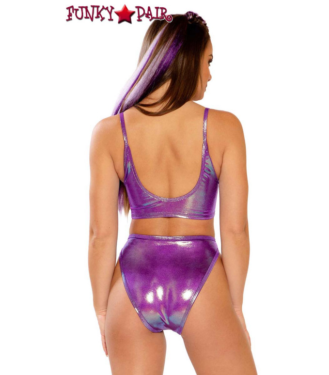 Metallic Spaghetti Tank by J Valentine JV-FF261 color purple spectrum back view