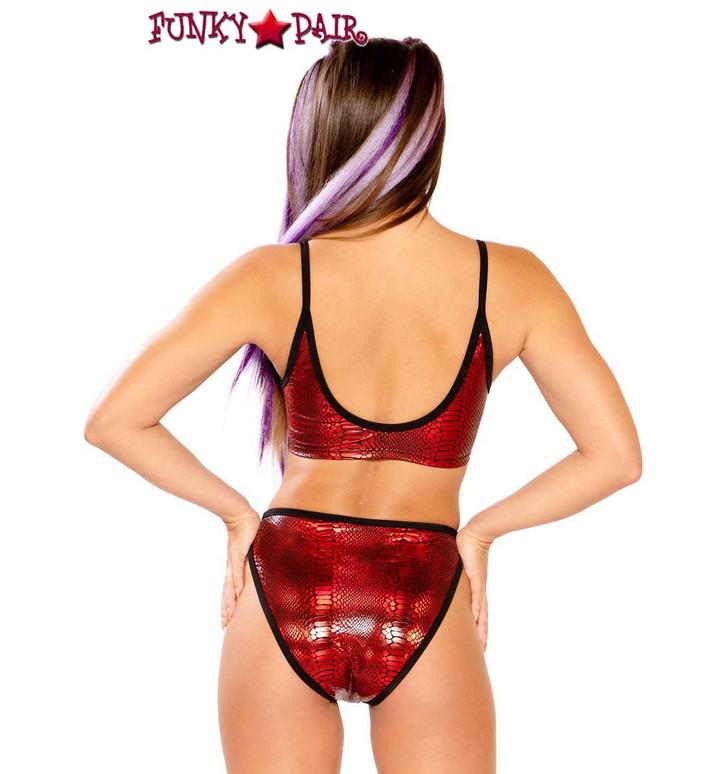 Metallic Spaghetti Tank by J Valentine JV-FF261 color red cobra back view