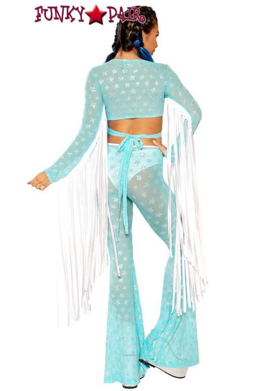 Sequin Bell Bottoms by J Valentine JV-FF108 color aqua silver star full back view