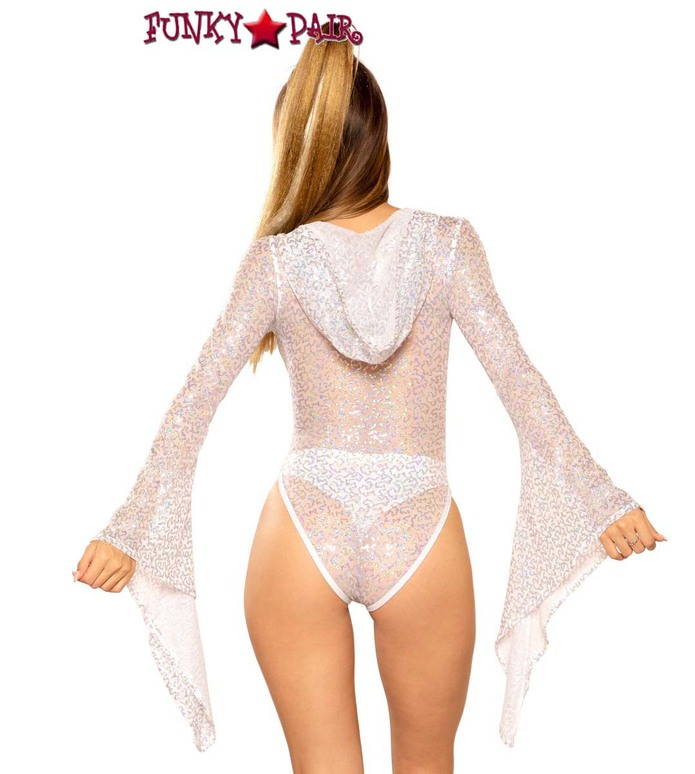Rave Sequin Hooded Bodysuit by J Valentine JV-FF289 color white/silver shimmer back view