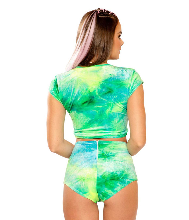 Tie-Dye Crop Top by J Valentine JV-FF154 color sea blue back view