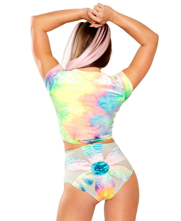 Tie-Dye Crop Top by J Valentine JV-FF154 color pastel back view