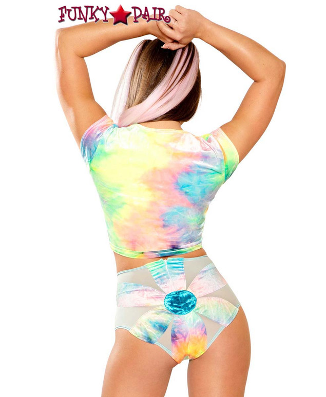 Tie-Dye Daisy Rave Short by J Valentine JV-FF156 color pastel back view