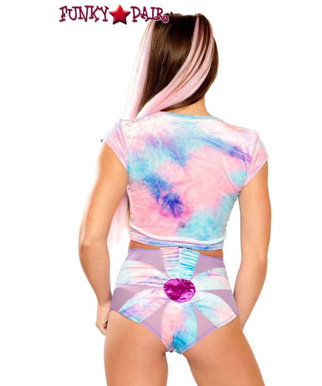 Tie-Dye Daisy Rave Short by J Valentine JV-FF156 color cotton kandi back view
