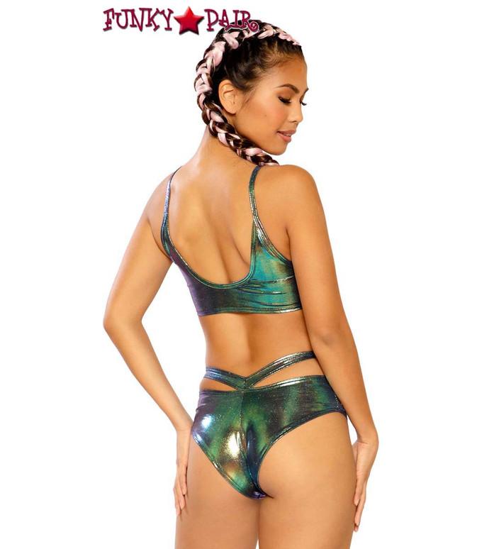 Strap Top by J Valentine JV-FF268 color Black opal back view with FF269 bottom