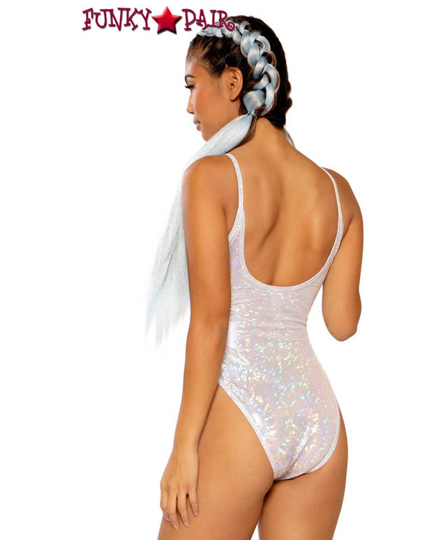 Raver Spaghetti Strap Bodysuit by J Valentine JV-FF260 color silver broken back view
